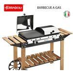 Barbecue Ghisa Gas Legno Inox - 49 0000049 Ferraboli